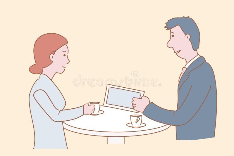 De man en de vrouw spreken over het werken in het bedrijf tijdens een koffiepauze De hand getrokken illustratie van het stijl vec royalty-vrije illustratie