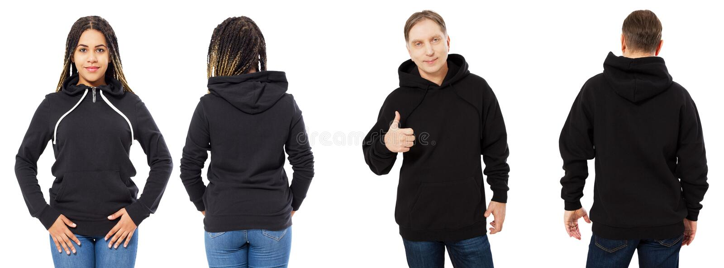 De man en de vrouw in zwarte hoodiespot omhoog plaatsen op witte achtergrond, zwarte lege kap geïsoleerd royalty-vrije stock foto