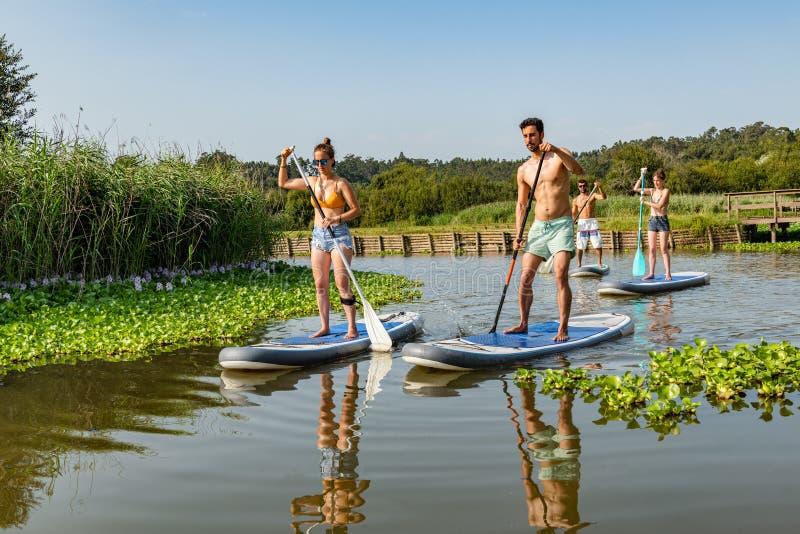 De man en de vrouwen staan op paddleboarding royalty-vrije stock afbeeldingen