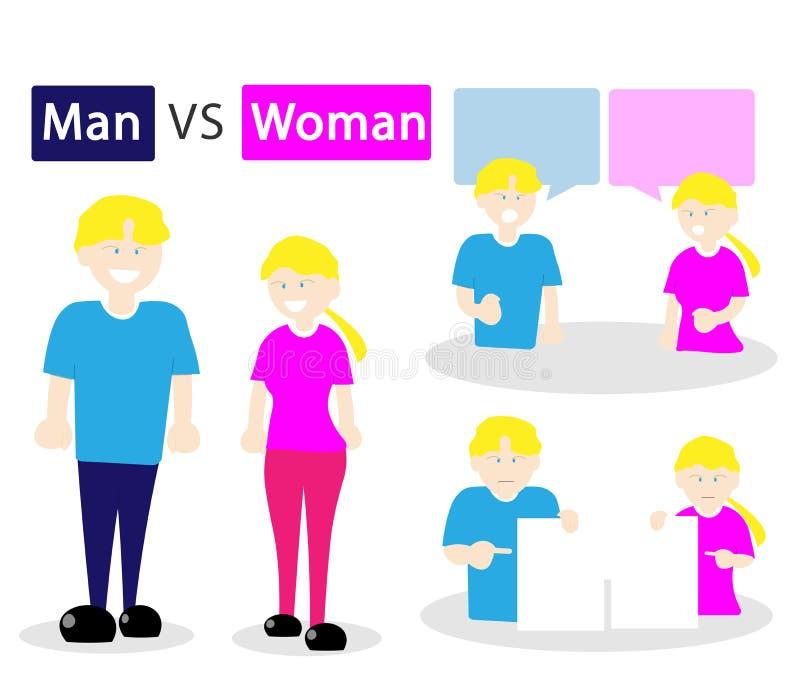 De man en de vrouwen de vector van het ruziemeningsverschil van het blondehaar royalty-vrije illustratie