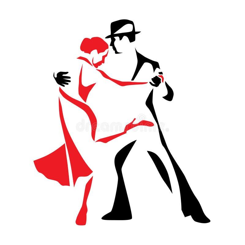 De man en de vrouwen vectorillustratie van het tango dansende paar, embleem, pictogram vector illustratie