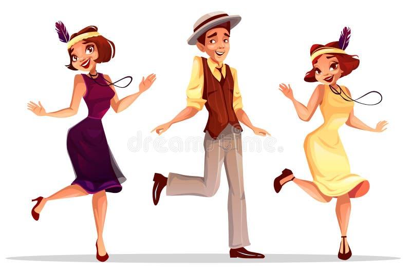 De man en de vrouwen vectorillustratie van jazzdansers stock illustratie