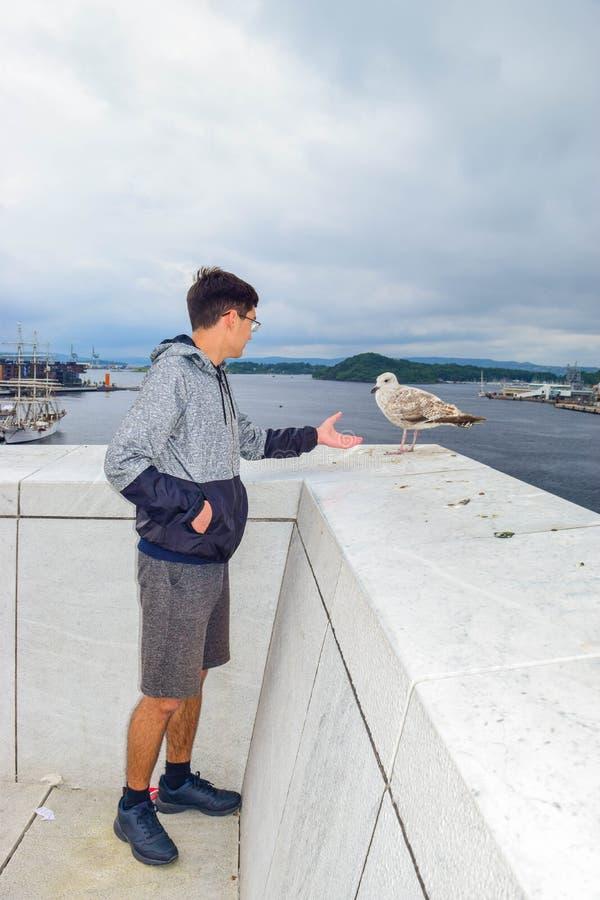 De man en de zeeman Oslo Opera House, Noorwegen royalty-vrije stock afbeeldingen