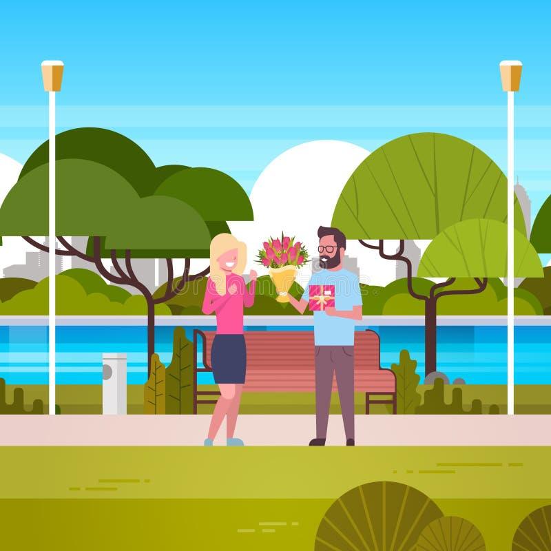 De man geeft Meisjesgift en Boeket over Groene Parkachtergrond Congradulations voor de Internationale Vakantie van Maart van de V stock illustratie