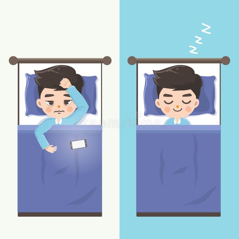 De man kan niet slapen en maakt hem comfortabel langs zonder mobiele telefoons slapen stock illustratie