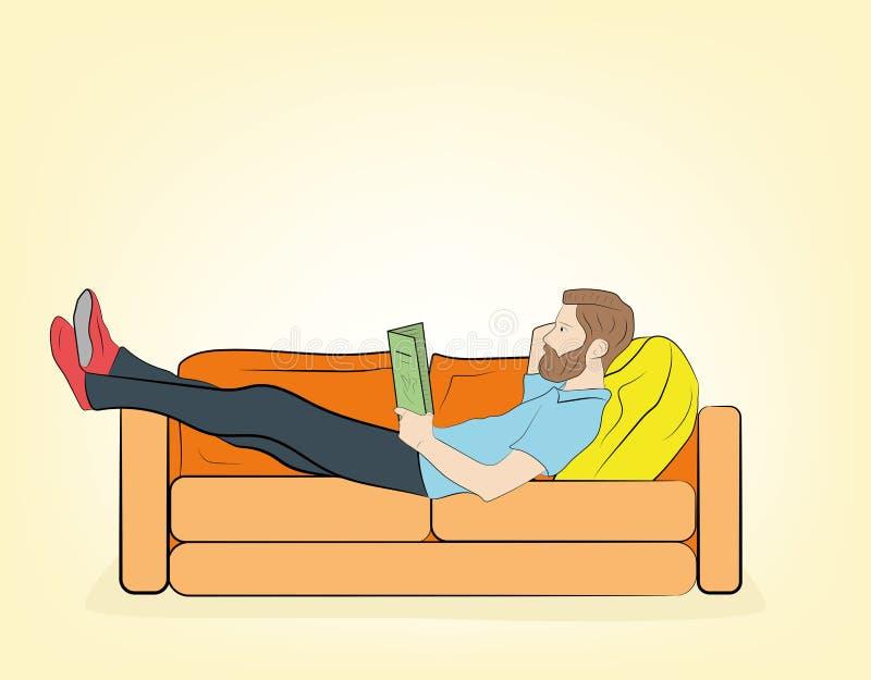 De man ligt op de laag Lees boek Het rusten Vector illustratie stock illustratie