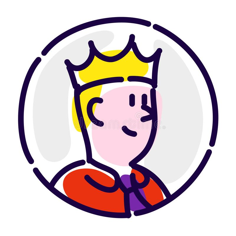 De man is de manager in de kroon Vector vlak pictogram Directeur, werkgever, werkgever, teamleider Het beeld is geïsoleerd op wit royalty-vrije illustratie