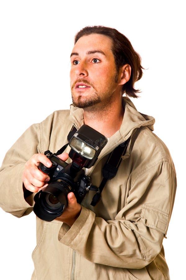 De man met de camera stock foto's
