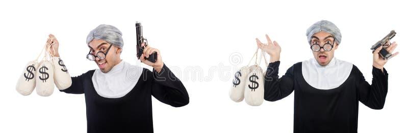 De man in nonkleding met pistool en moneybags royalty-vrije stock foto's