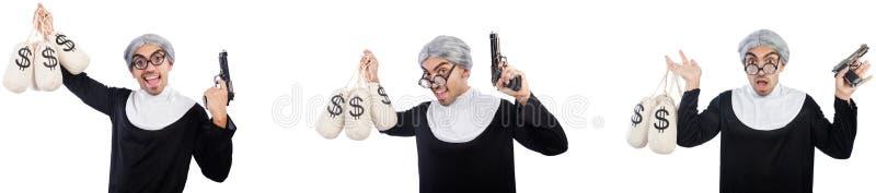 De man in nonkleding met pistool en moneybags stock afbeeldingen