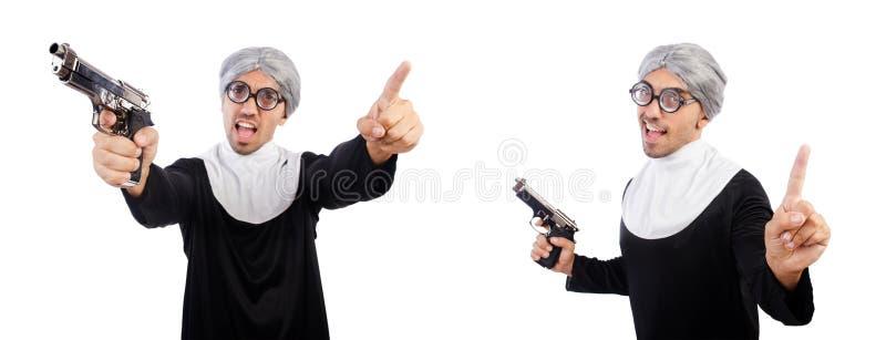De man in nonkleding met pistool royalty-vrije stock afbeelding