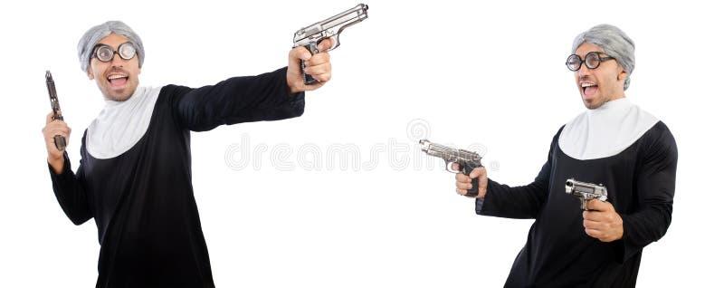 De man in nonkleding met pistool stock foto's