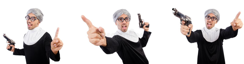 De man in nonkleding met pistool royalty-vrije stock foto