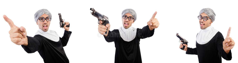 De man in nonkleding met pistool royalty-vrije stock foto's