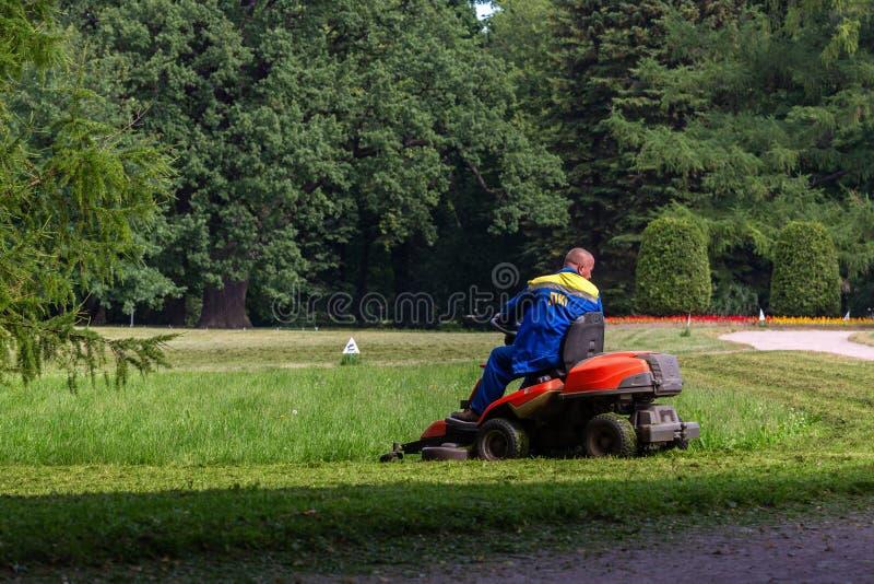De man op de grasmaaimachine snijdt het gras op het gazon royalty-vrije stock foto