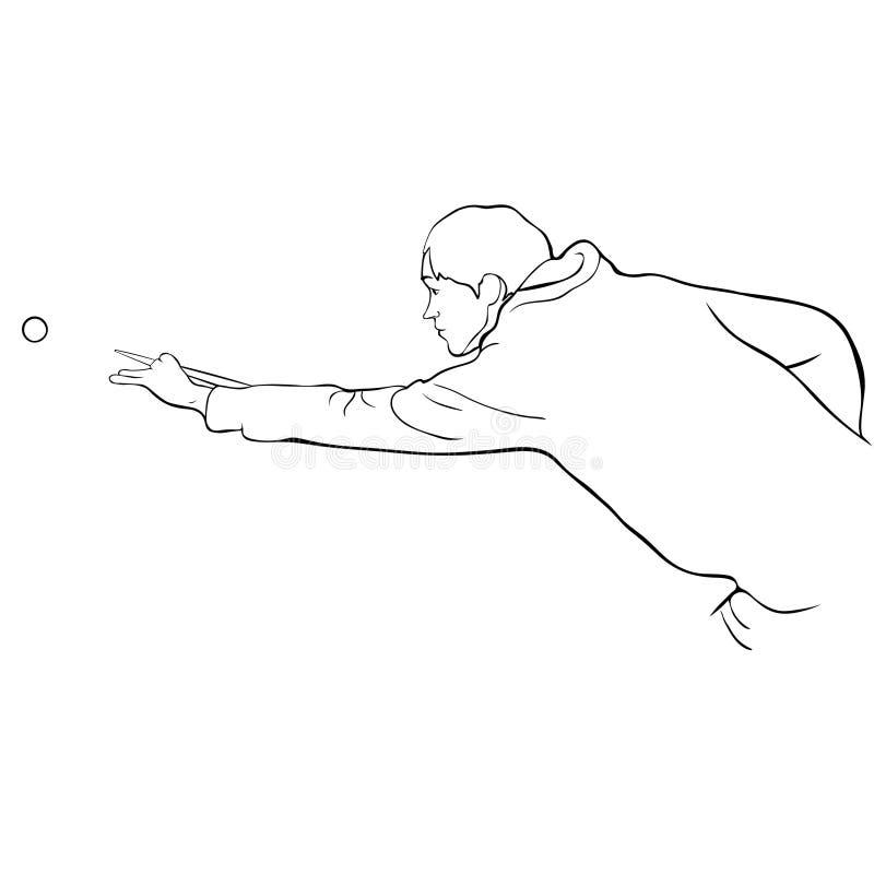 De man speelt biljart het kleuren Vector illustratie stock illustratie