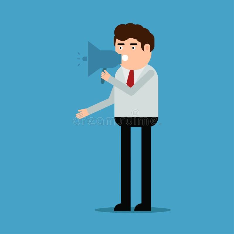 De man spreekt in de luidspreker stock illustratie