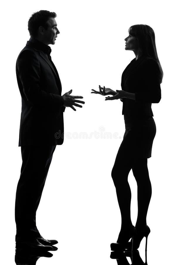 De man van de bedrijfspaarvrouw silhouet stock foto