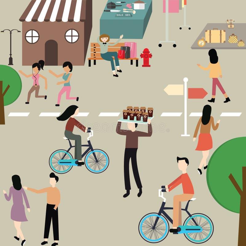 De man van de illustratiemensen van de zorg hangt de vrije dag fiets van de vrouwenjogging rond sportoefening op straat vector illustratie