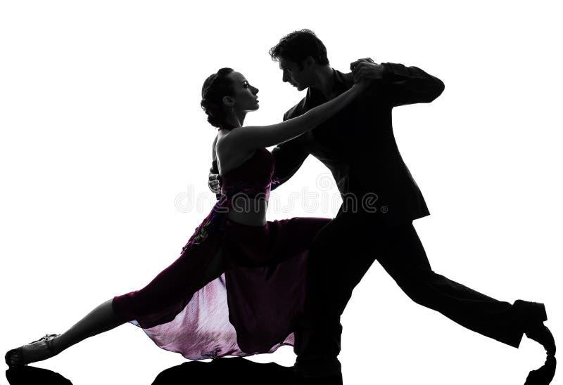 De man van het paar de dansers die van de vrouwenbalzaal silhouet tangoing royalty-vrije stock foto's