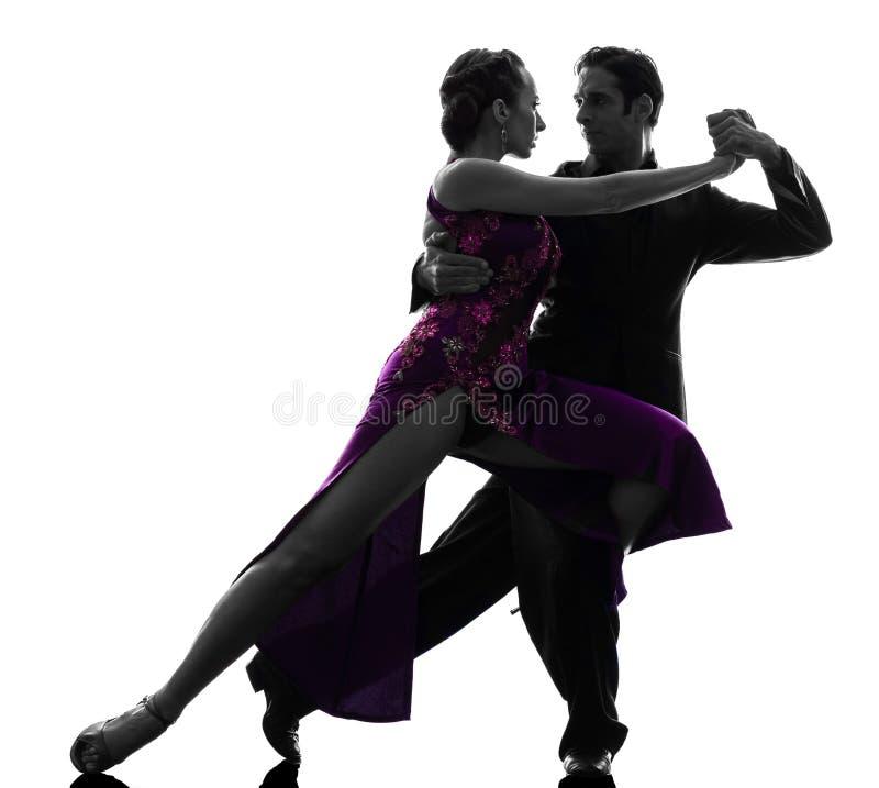 De man van het paar de dansers die van de vrouwenbalzaal silhouet tangoing royalty-vrije stock fotografie