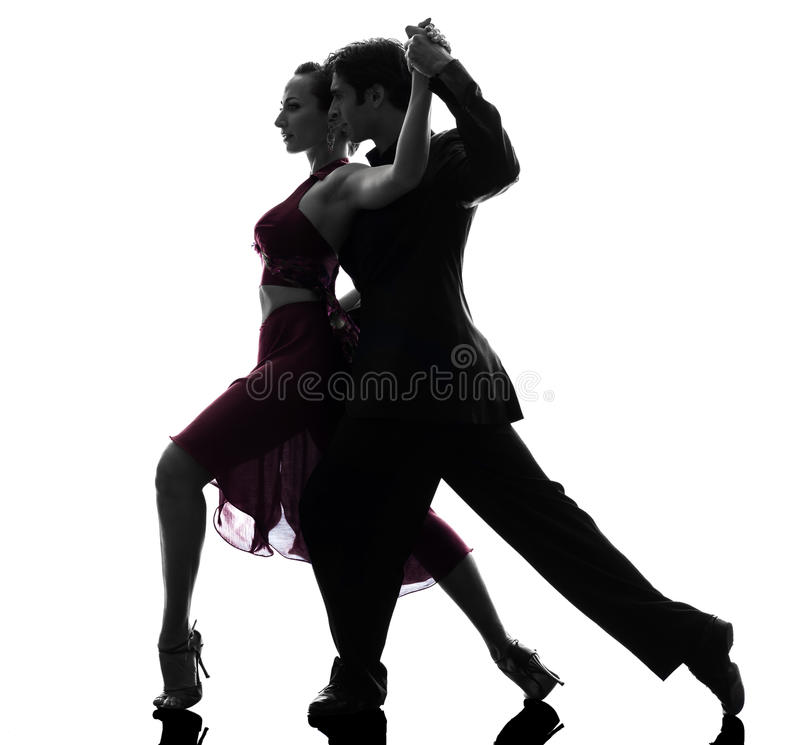 De man van het paar de dansers die van de vrouwenbalzaal silhouet tangoing stock fotografie