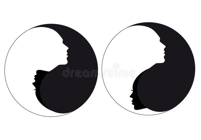 De man van het Yin yang teken en vrouw, vector vector illustratie