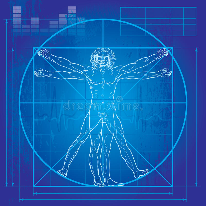 De man Vitruvian (de versie van de Blauwdruk)