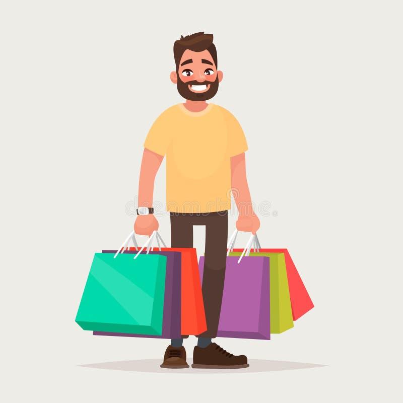 De man winkelt De kerel met de pakketten Vector illustratie vector illustratie