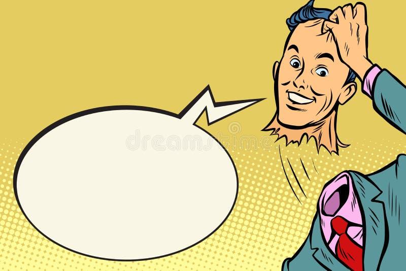De man zonder hoofd is beleefde groet stock illustratie