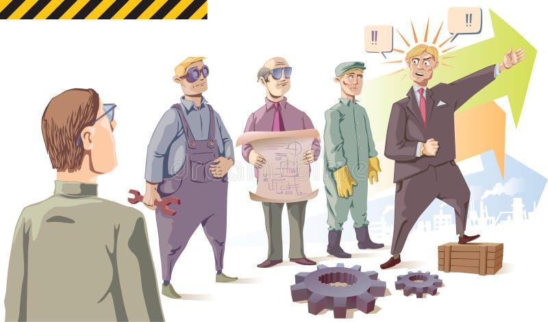 De manager spreekt aan zijn publiek - de arbeiders. stock illustratie