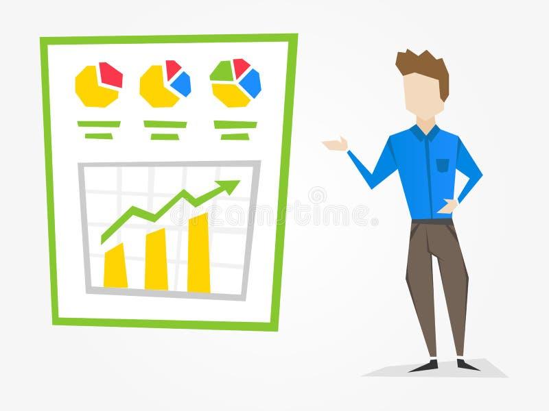 De manager toont infographic presentatie vector illustratie