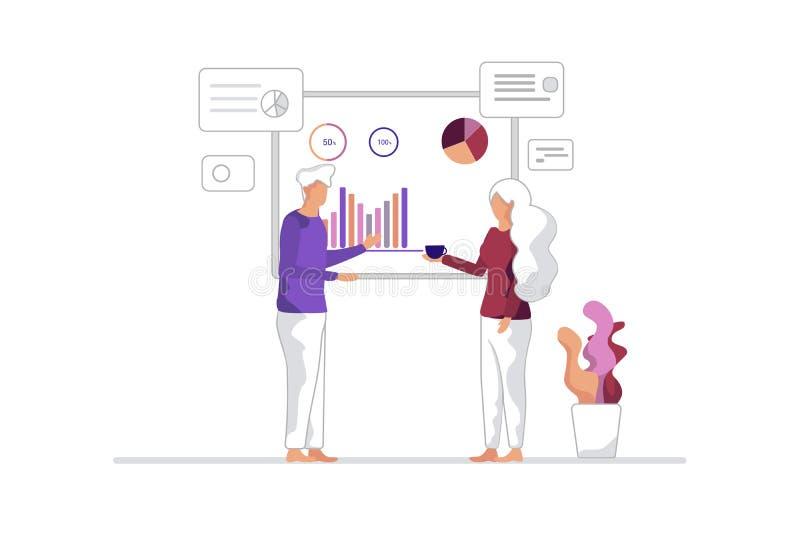De managers bespreken de Projectgroei en Ontwikkeling vector illustratie