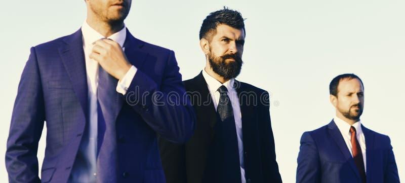 De managers dragen slimme kostuums, banden op blauwe hemelachtergrond stock foto