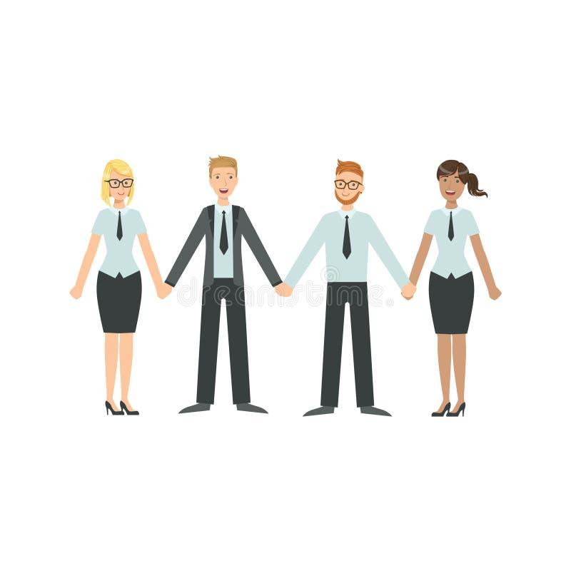 De managersholding overhandigt Groepswerkillustratie vector illustratie