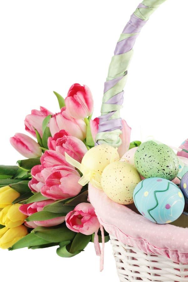 De Mand en de Tulpen van Pasen royalty-vrije stock afbeelding