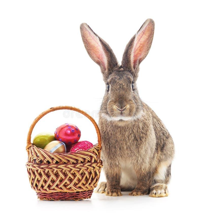 De mand en het konijntje van Pasen royalty-vrije stock fotografie
