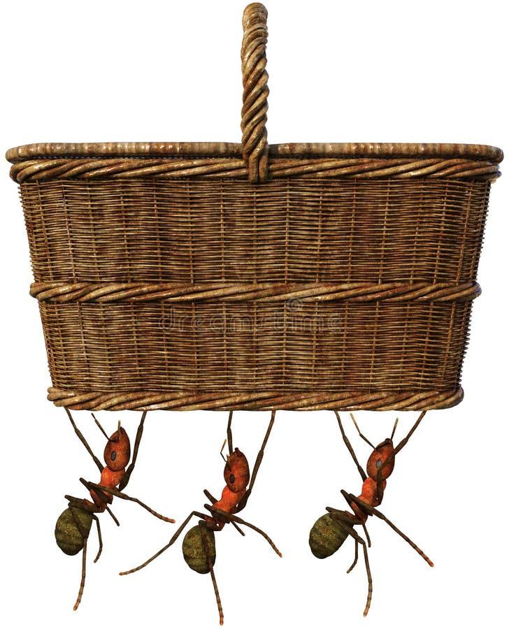 De Mand van het picknickvoedsel, Grappig Geïsoleerde Mieren, vector illustratie