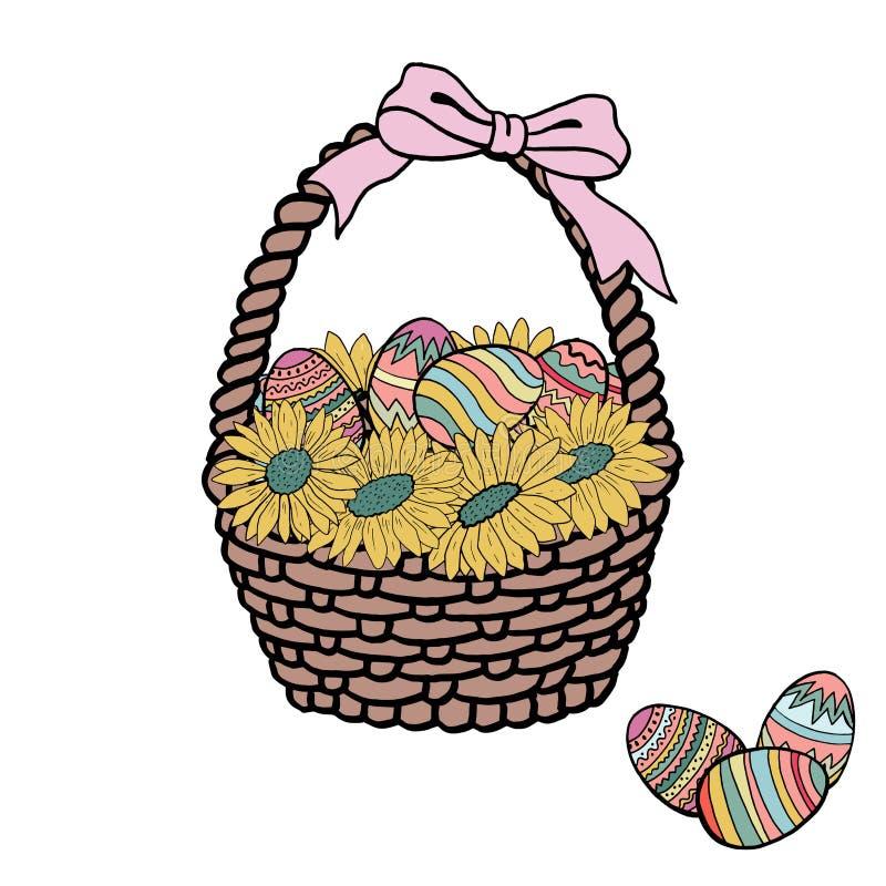 De mand van Pasen met eieren en bloemen Vector stock foto