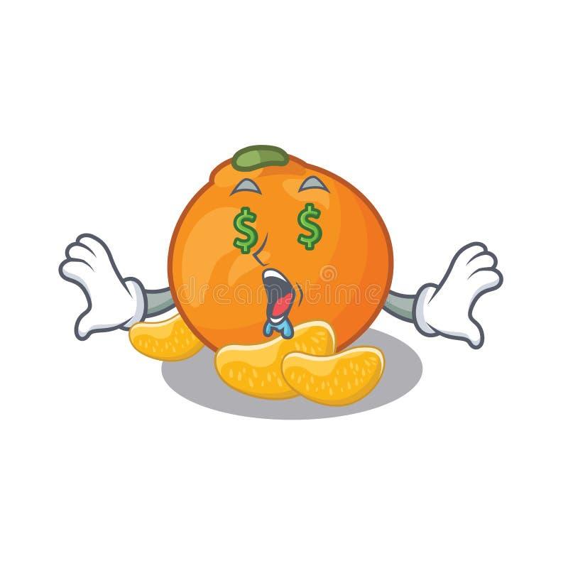 De mandarijn van het geldoog met in het beeldverhaal wordt geïsoleerd dat vector illustratie
