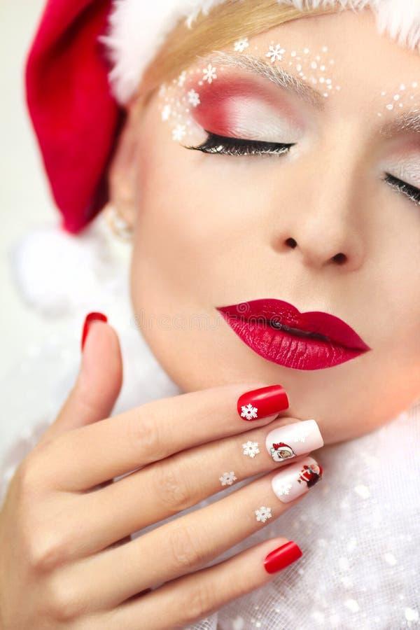 De manicure en de make-up van het nieuwe jaar royalty-vrije stock foto's