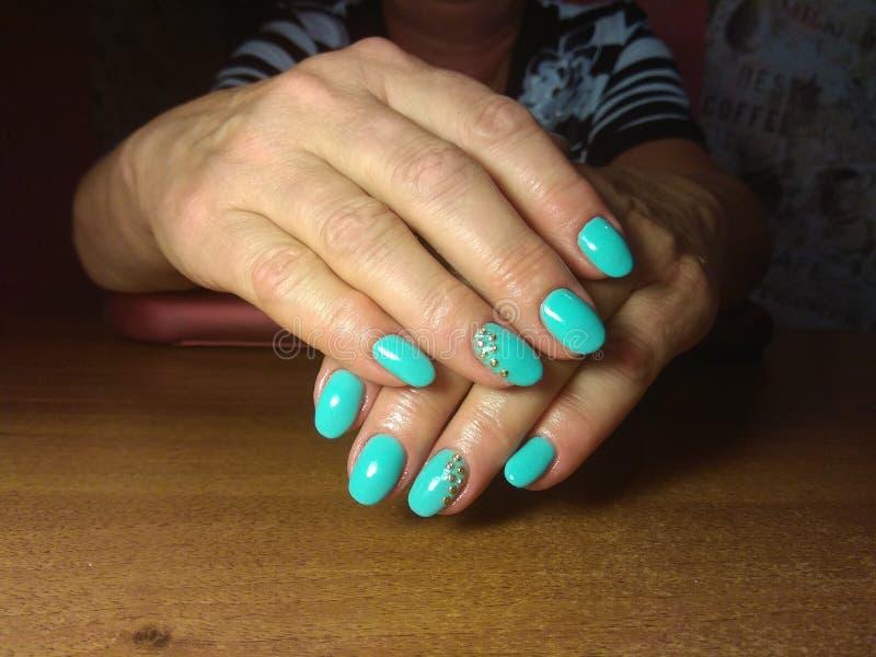 De manicure maakte uitstekend tot haar werk een mooie manicure met een poetsmiddelgel op haar handen en de cliënt is gelukkig royalty-vrije stock foto