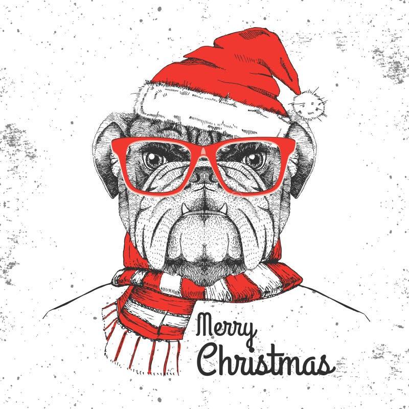 De manier dierlijke buldog van Kerstmishipster gekleed een Nieuwjaarhoed royalty-vrije illustratie
