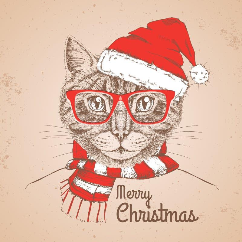 De manier dierlijke kat van Kerstmishipster gekleed een Nieuwjaarhoed vector illustratie