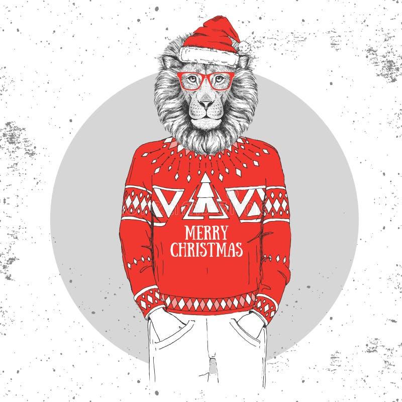 De manier dierlijke leeuw van Kerstmishipster gekleed een Nieuwjaarhoed stock illustratie