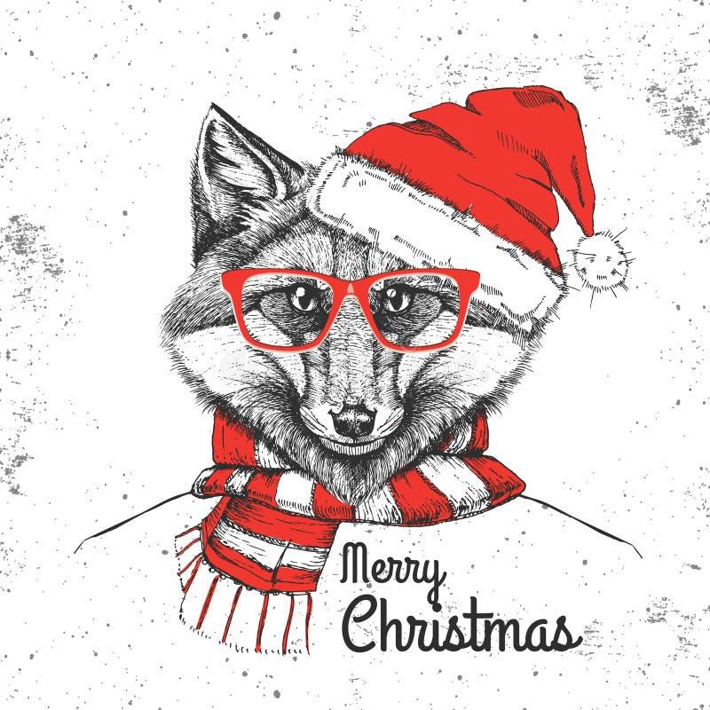 De manier dierlijke vos van Kerstmishipster gekleed een Nieuwjaarhoed en scaf vector illustratie
