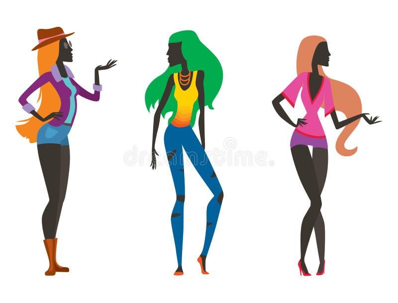 De manier kijkt wijfje en mooi van de het meisjesvrouw van het meisjessilhouet het mooie, jong, model, stijl, haar, de glamour va vector illustratie