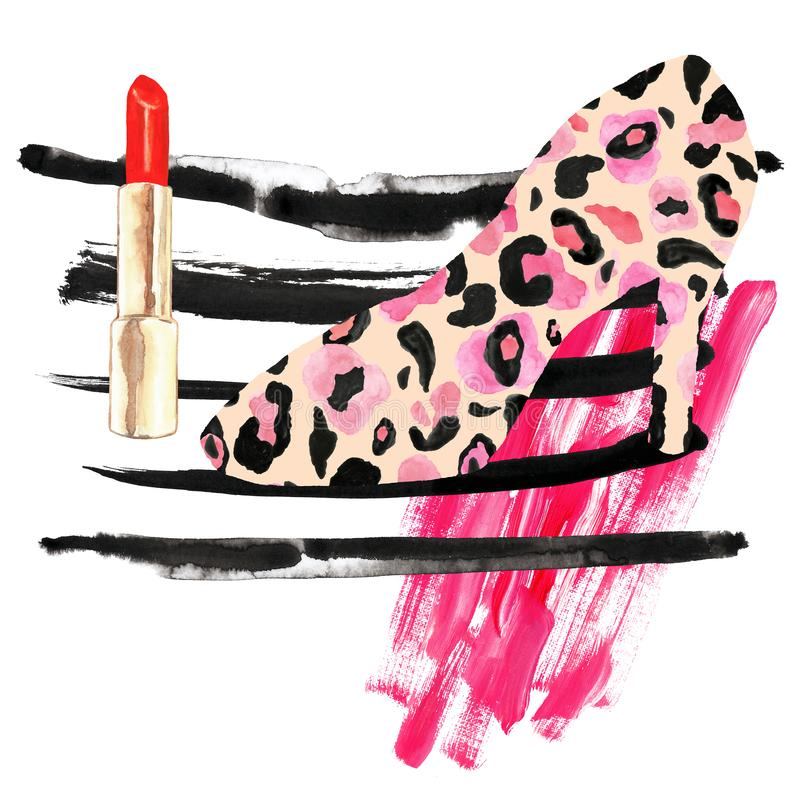 De manier maakt omhoog illustratie met rode lippenstift, rode inktstrepen, roze vlekken van acrylverf en dameschoenen met het klo vector illustratie