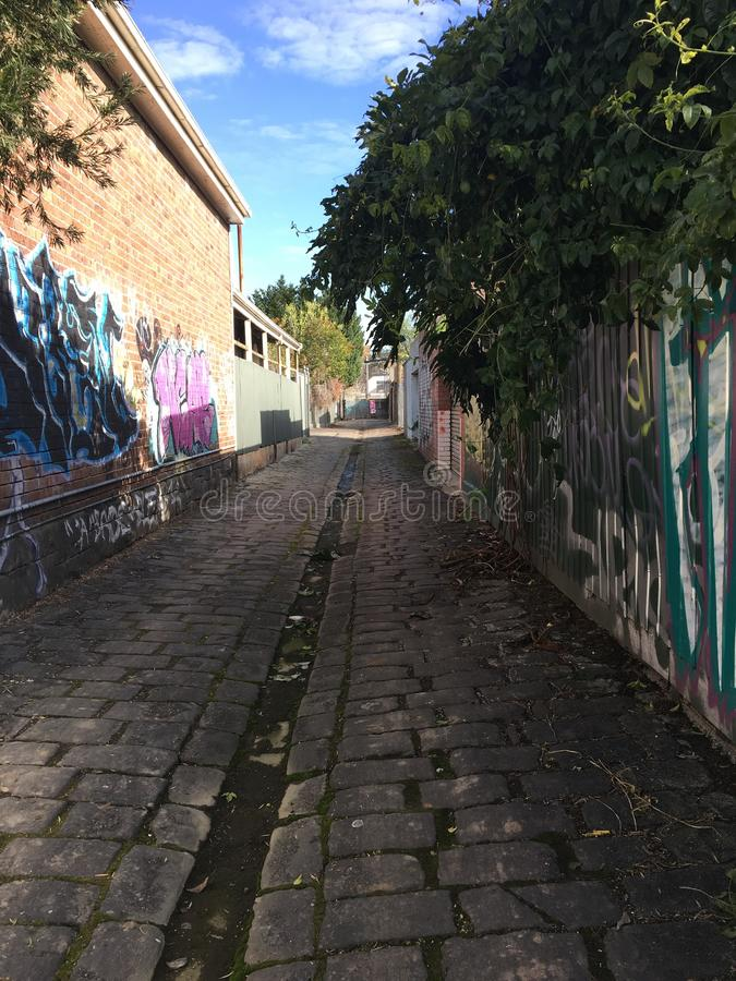 De manier van de graffitisteeg stock afbeelding