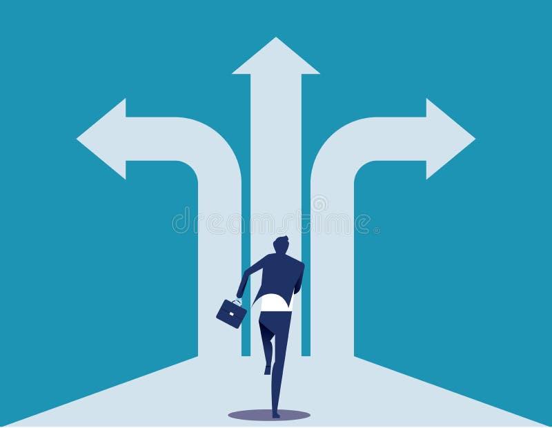 De manier van de keus Zakenman met kruispunten en besluit aan succes De vectorillustratie van het concepteneconomisch besluit royalty-vrije illustratie